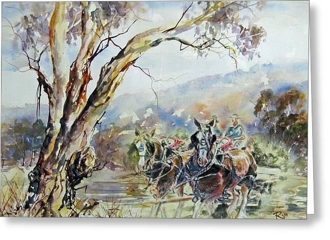 Working Clydesdale Pair, Australian Landscape. Greeting Card