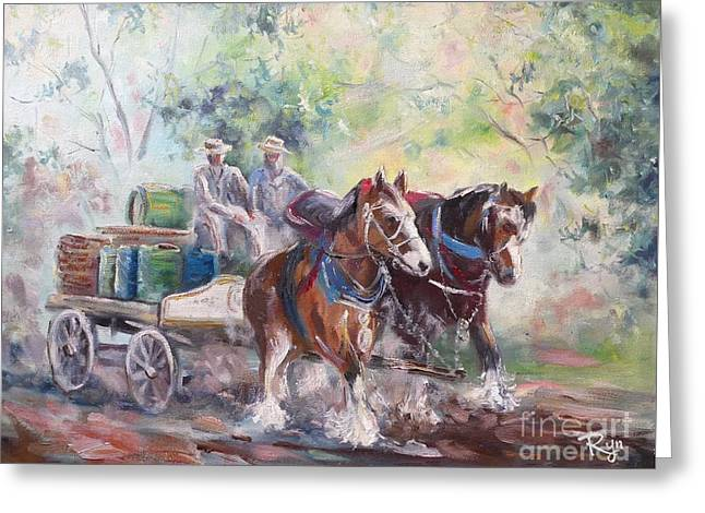 Working Clydesdale Pair, Victoria Breweries. Greeting Card