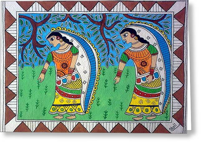 Working In Farms Madhubani Painting Greeting Card by Aboli Salunkhe