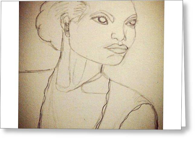 Working On An Eartha Kitt Sketch For My Greeting Card by Genevieve Esson