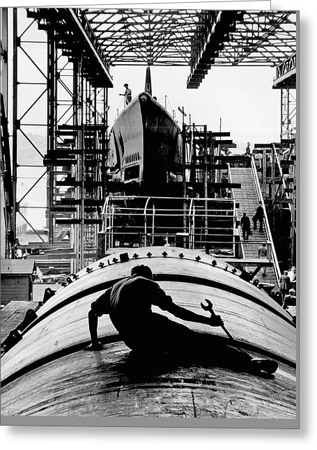 Working On Submarine 1943 Greeting Card by U S N A