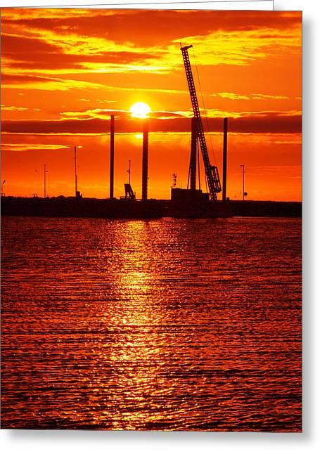 Geelong Greeting Cards - Working Sunrise Greeting Card by Clive Whitehead