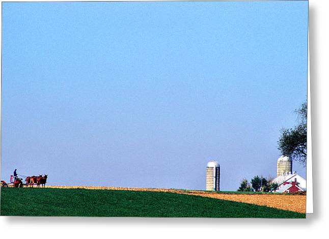Cornfield Greeting Cards - Working the Fields Greeting Card by Thomas R Fletcher