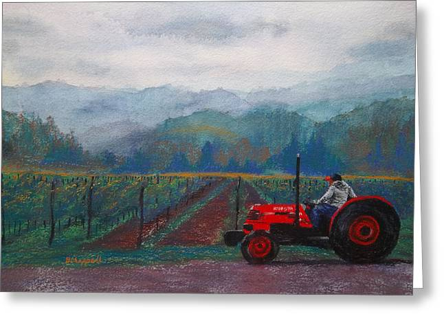 Red Wine Prints Mixed Media Greeting Cards - Working the Vineyard Greeting Card by Becky Chappell