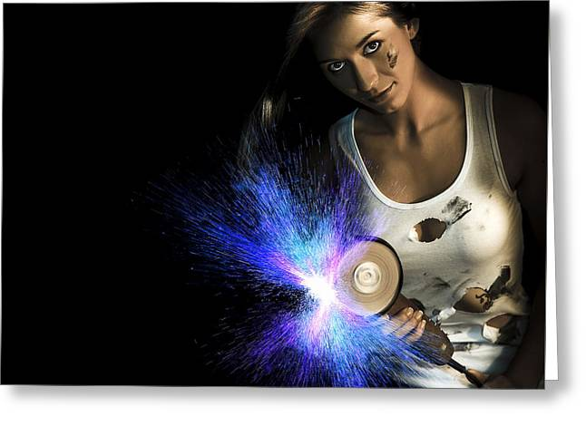 Working Woman With Industrial Tools Greeting Card