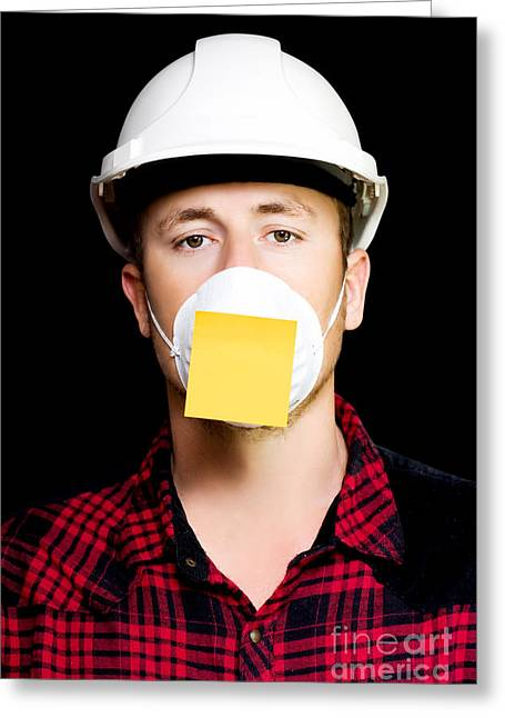Workman With A Sticky Note Reminder Greeting Card by Jorgo Photography - Wall Art Gallery
