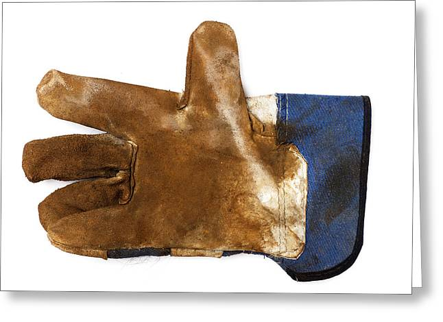 Workman's Leather Glove Isolated On White Greeting Card
