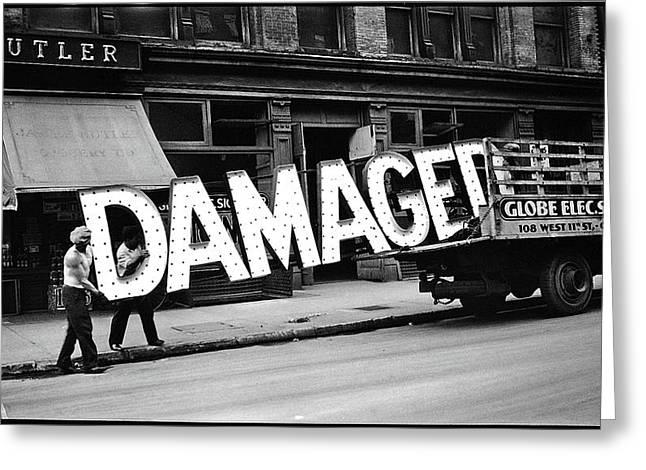 Workmen Hauling Damaged Sign Walker Evans Photo New York City 1930 Color Added 2008 Greeting Card