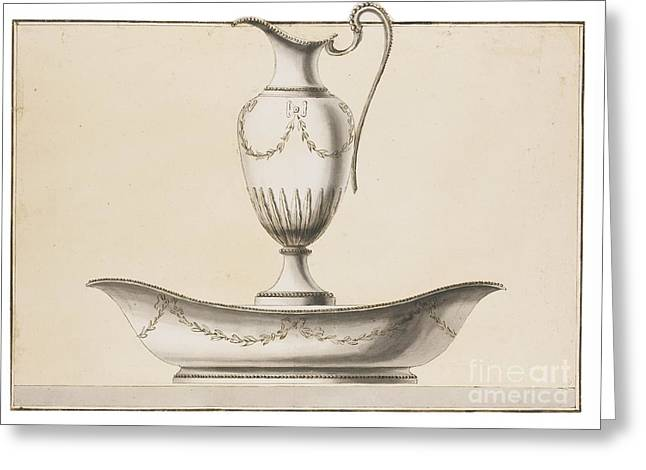 Workshop A Vase-shaped Ewer And An Oval Basin Greeting Card