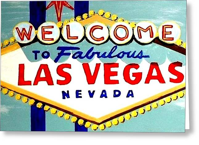 World Famous Las Vegas Sign Daytime Greeting Card by Teo Alfonso