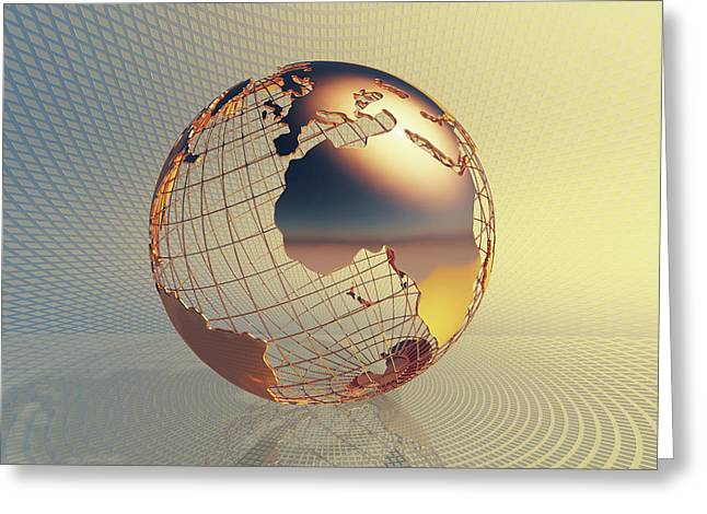 World Global Business Background Greeting Card