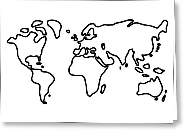 World Globe Greeting Card by Lineamentum