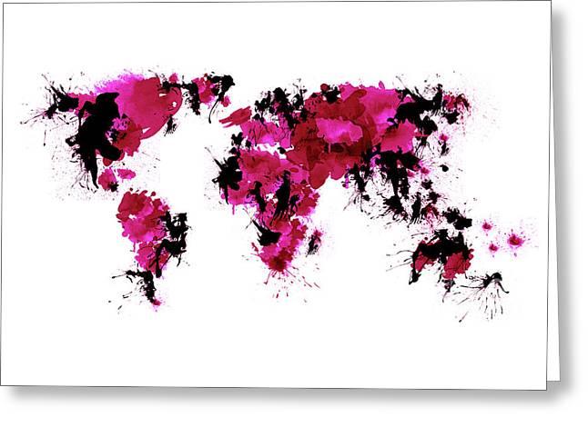 World Maps 1 Greeting Card by Prar Kulasekara