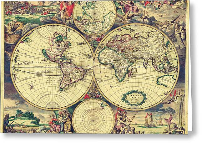 World Map 1689 Greeting Card