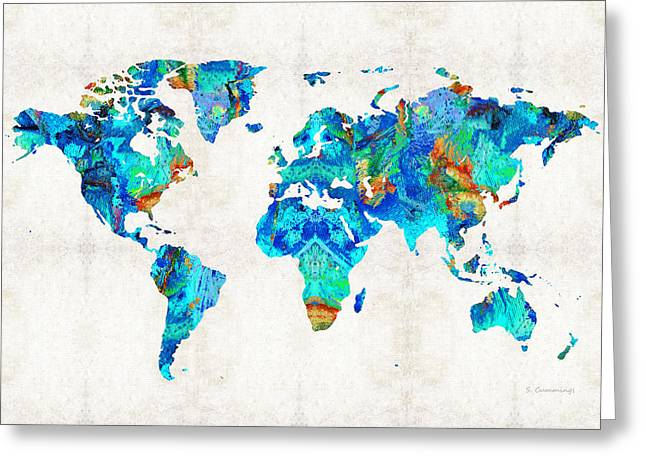 World Map 22 Art By Sharon Cummings Greeting Card by Sharon Cummings