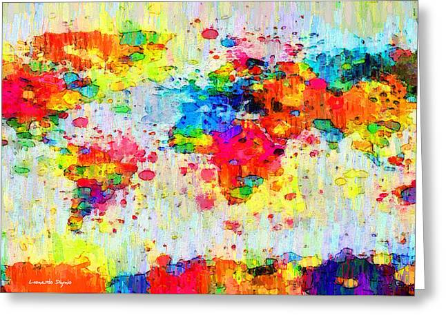 World Map Abstract 3 - Pa Greeting Card by Leonardo Digenio