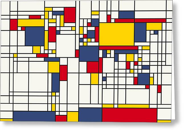 Yellow Line Greeting Cards - World Map Abstract Mondrian Style Greeting Card by Michael Tompsett