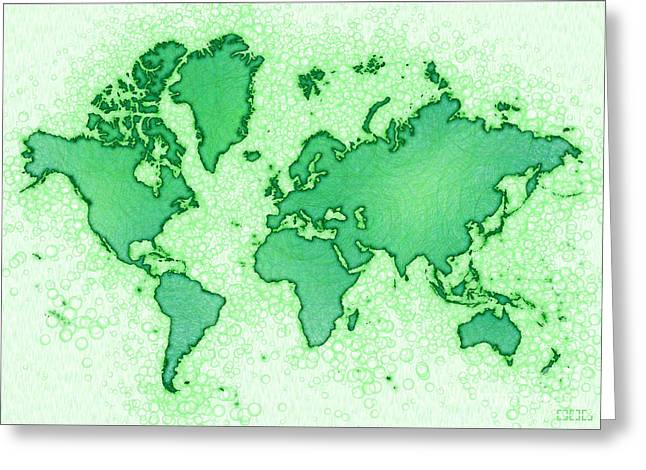World Map Airy In Green And White Greeting Card by Eleven Corners