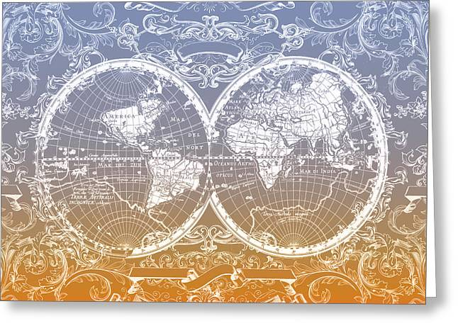 World Map Antique 11 Greeting Card