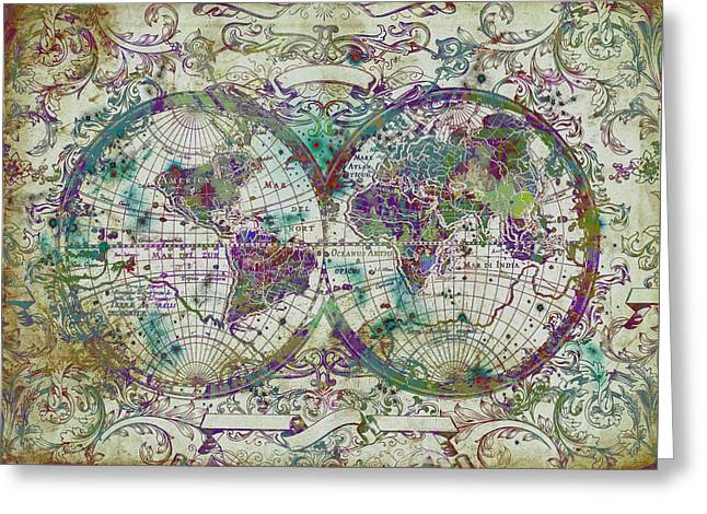 World Map Antique 13 Greeting Card