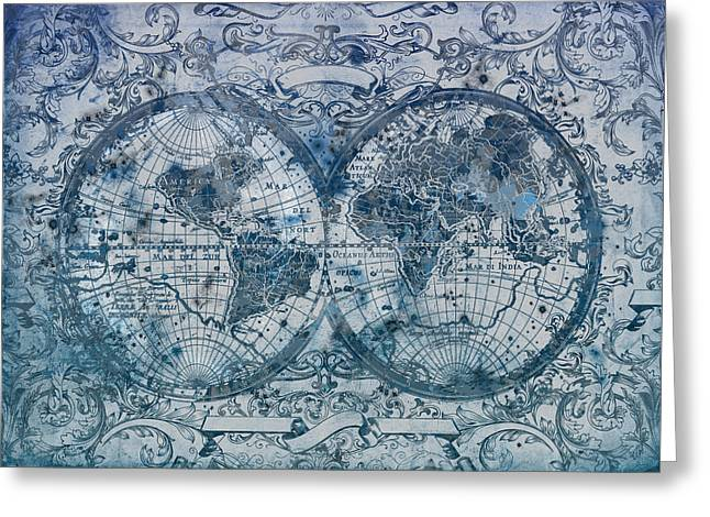 World Map Antique 5 Greeting Card