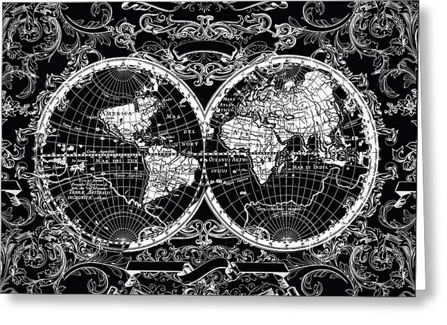 World Map Antique 8 Greeting Card