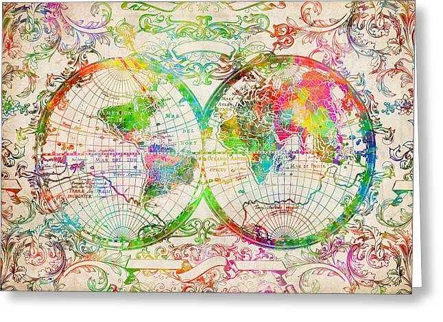World Map Antique 9 Greeting Card