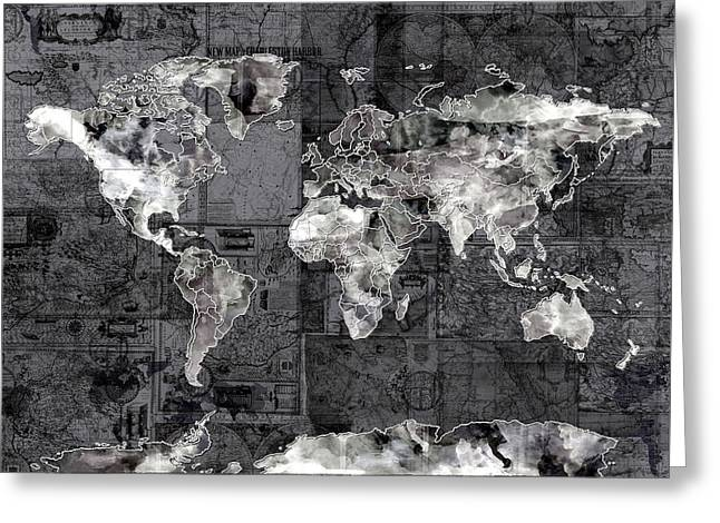 World Map Black And White 3 Greeting Card