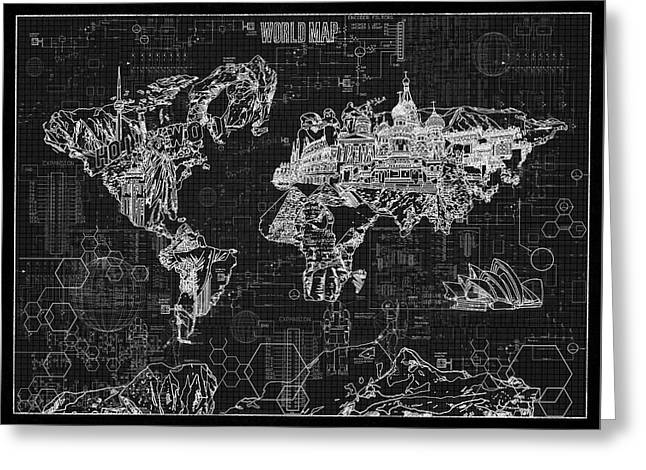 Greeting Card featuring the digital art World Map Blueprint 2 by Bekim Art