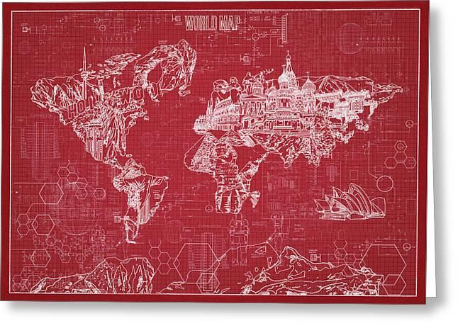 Greeting Card featuring the digital art World Map Blueprint 3 by Bekim Art