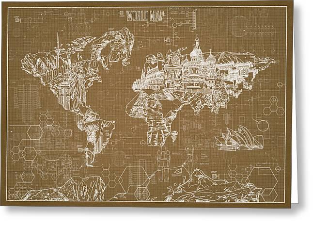 Greeting Card featuring the digital art World Map Blueprint 4 by Bekim Art