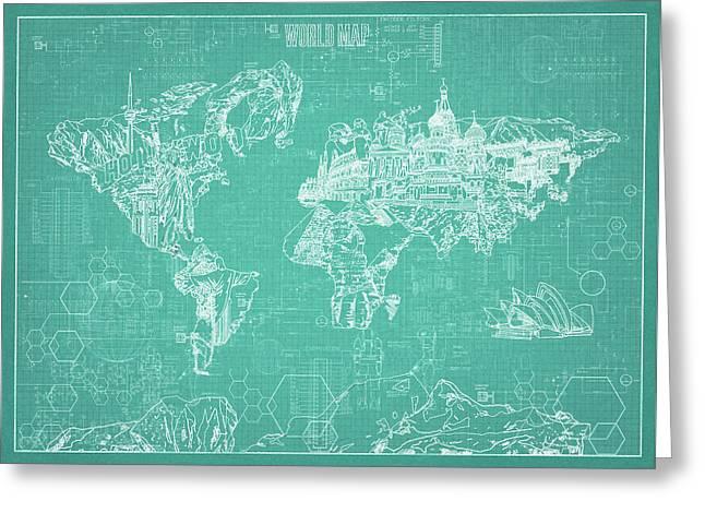 Greeting Card featuring the digital art World Map Blueprint 7 by Bekim Art
