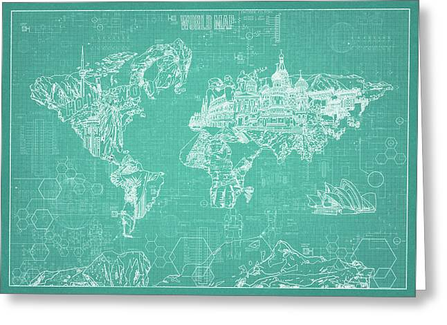 World Map Blueprint 7 Greeting Card