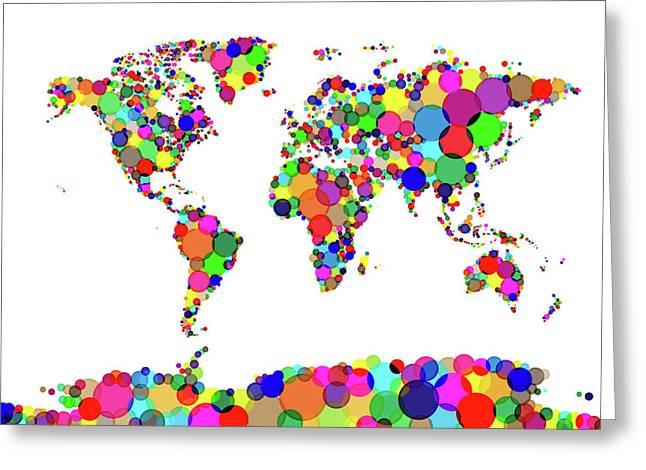 World Map Circles Greeting Card
