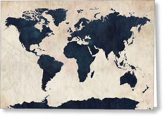 Panoramic Greeting Cards - World Map Distressed Navy Greeting Card by Michael Tompsett