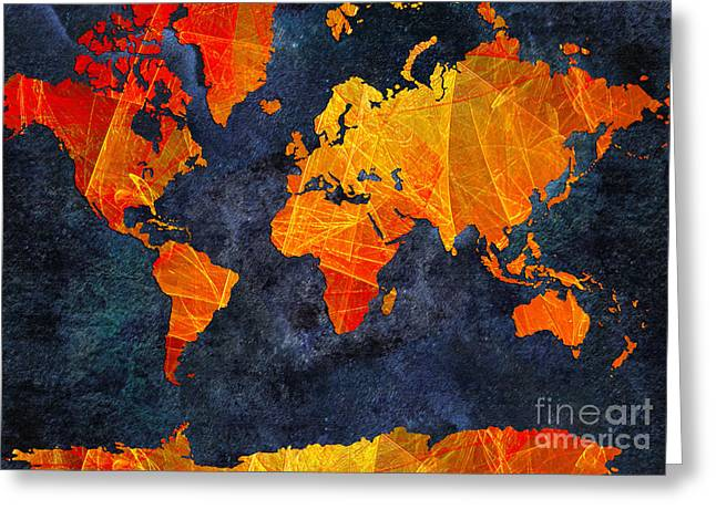 World Map - Elegance Of The Sun - Fractal - Abstract - Digital Art 2 Greeting Card