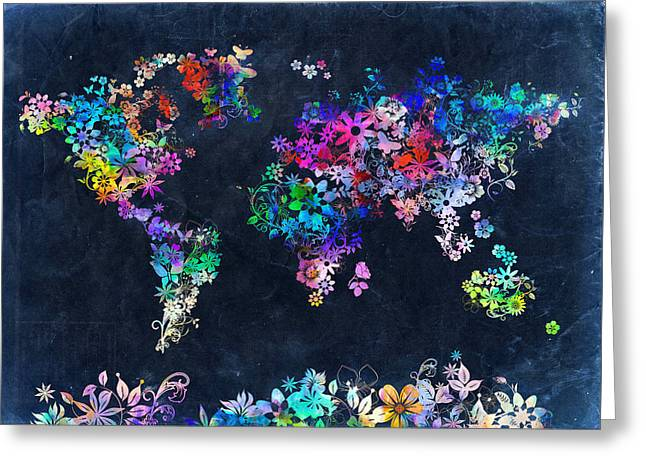 World Map Floral 10 Greeting Card by Bekim Art