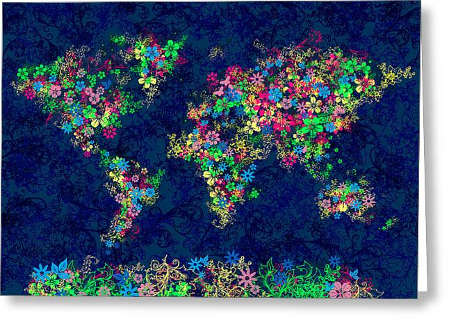 World Map Floral 11 Greeting Card by Bekim Art