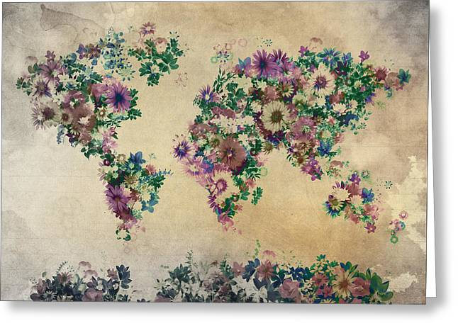 World Map Floral 12 Greeting Card by Bekim Art