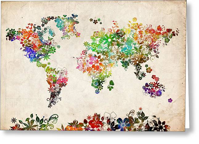 World Map Floral 2 Greeting Card by Bekim Art