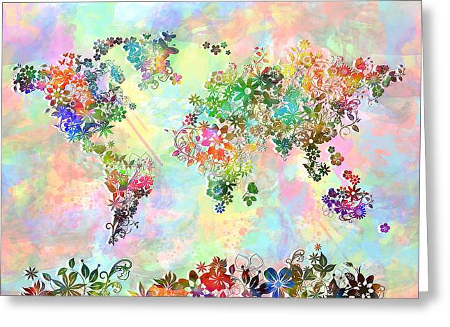 World Map Floral 3 Greeting Card by Bekim Art