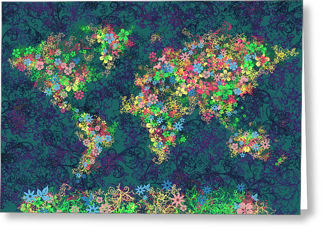 World Map Floral 4 Greeting Card by Bekim Art