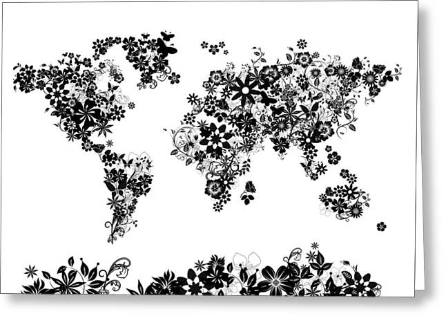 World Map Floral 5 Greeting Card by Bekim Art