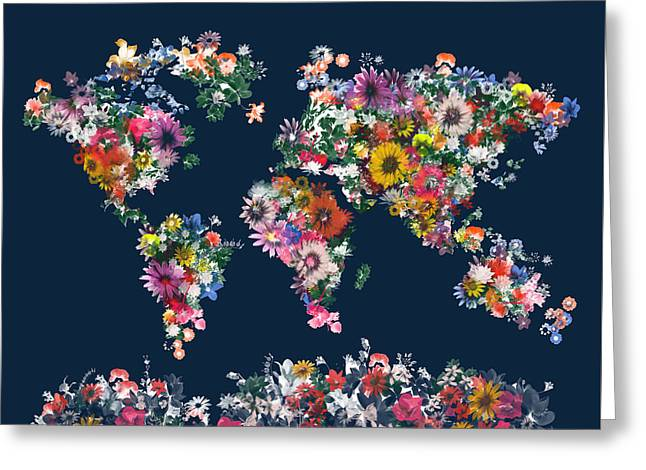 World Map Floral 7 Greeting Card by Bekim Art