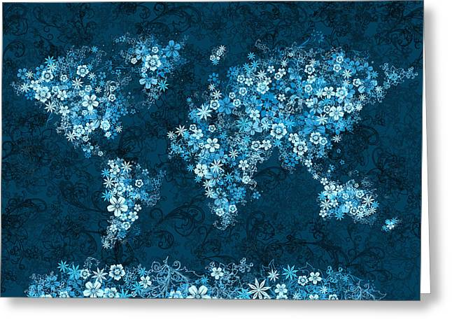 World Map Floral 8 Greeting Card by Bekim Art