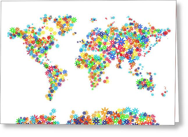 World Map Floral  Greeting Card by Bekim Art