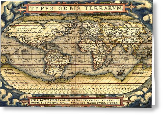 Atlas Print Greeting Cards - World map from the Theatrum Orbis Terrarum 1570 Greeting Card by Pg Reproductions