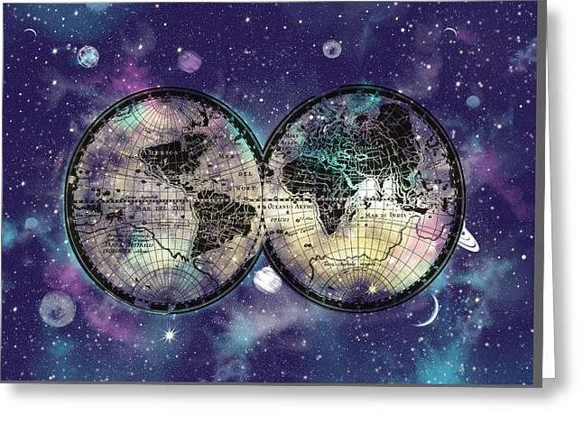 World Map Galaxy 1 Greeting Card