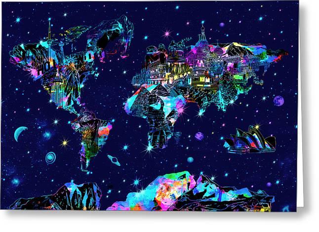 World Map Galaxy 10 Greeting Card