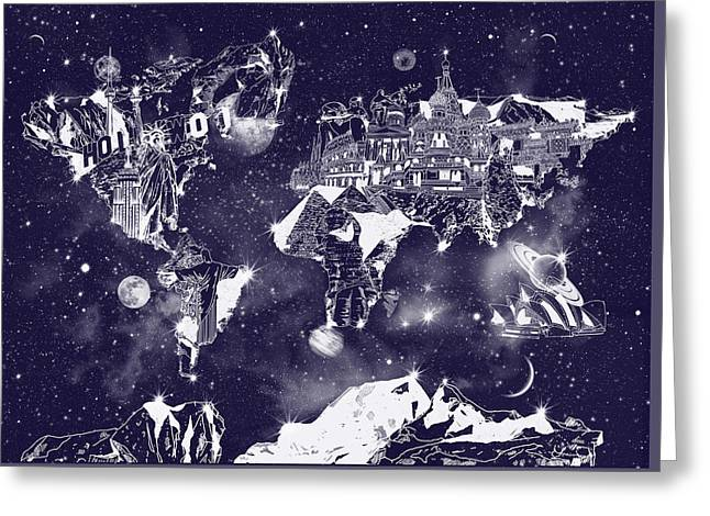 World Map Galaxy 2 Greeting Card